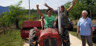 Новак Джокович на тракторе