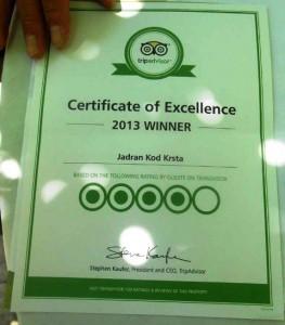 Сертифакат ресторану Ядран