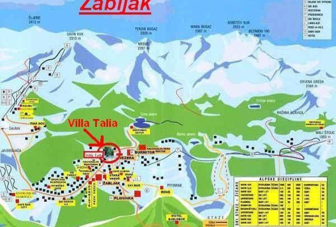 Карта спусков лыжного курорта Жабляк, Черногория